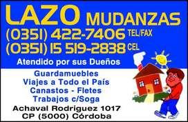 LAZO MUDANZAS 4227406 3515192838 GUARDAMUEBLES  FLETES
