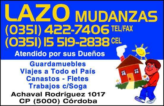 LAZO MUDANZAS 4227406 3515192838 GUARDAMUEBLES  FLETES 0