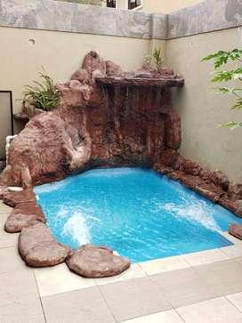 Alquiler de casa amoblada con piscina en Urb. Villa Club en la Aurora - Daule - Av. Leon Febres Cordero