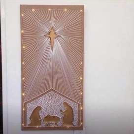 Pesebre con luces CUADRO 80 x 40 Navidad