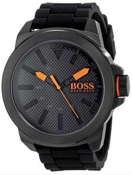 HUGO BOSS 1513004 New York  Reloj negro en acero inoxidable - Contraste Naranja