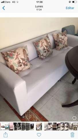 Lindo sofa blanco 2 mts en cuerotex