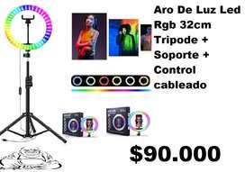 Aro luz led 32cm RGB Múltiples Colores Con Trípode Y Control Cableado