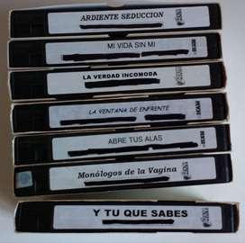 Lote 7 VIDEO CASSETTES para VIDEO CASSETERA PELICULAS ORIGINALES