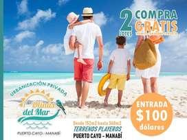 Venta de Terrenos en la playa, 170m2(10m x 17m) 9.350 usd 100 usd Entrada, Urb. Olinas del Mar Puerto Cayo Manabi SD1