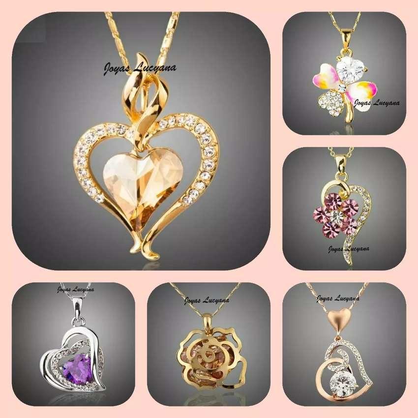 JOYAS LUCYANA, Barranco. Collares para Mujer, Corazón, Flor, Trébol, Rosa, Gato, Bañados en Oro de 18K 0