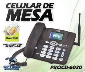Teléfono Celular de Mesa Pro Electronics Dual Simcard PROCD-6020 Planta Telefónica
