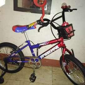 Bici niño nueva, rin 16 spaiderman