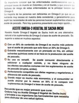 Aceite omega-3 vegetal de sacha Inchi