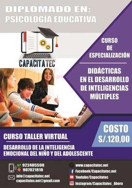 Diplomados en Psicología Educativa,  Desarrollo de Inteligencias múltiples   Curso Taller Virtual.