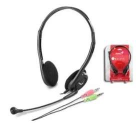Audifonos Diadema Microfono Dos Plug 3.5mm Pc Genius Hs-200