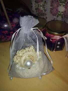 Bolsitas de gaza ideal para souvenires rellenas con Arroz o Popurrí aromatizado