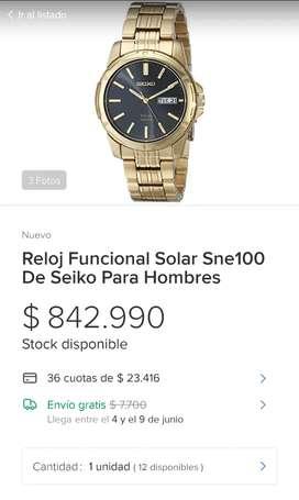 Reloj Funcional Solar Sne100 De Seiko Para Hombres