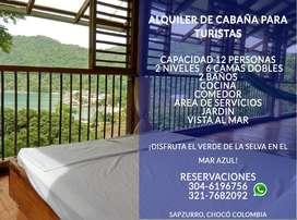 ALQUILER Cabaña Sapzurro La Miel Panamá Playa Caribe Choco Capurgana