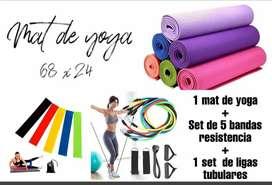 Set de ejercicio, Mat de yoga, ligas, tubulares