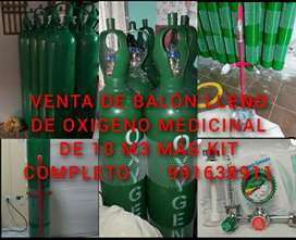 Venta de balón lleno de oxigeno medicinal de 10 m3 más kit completo