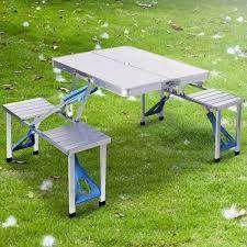 Mesa Armable Plegable 4 Puestos Camping Sirve Parasol.
