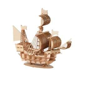 Figura Armable 3d Barco En Madera Para Armar Rompecabezas