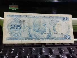 Billete de 25 colones de 1983