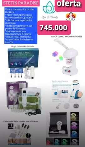 Combo tratamientos faciales con vapor ozono portatil