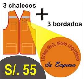 COMBO 3 CHALECOS DE TRABAJO + BORDADO