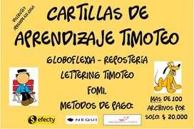 Cartillas De Aprendizaje - foamy - lettering y timoteo - globoflexia - reposteria - mas de 150 archivos