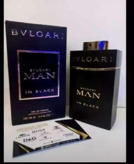 Perfume man in black bvulgari