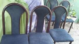 Sillas de comedor 5 de pana azul