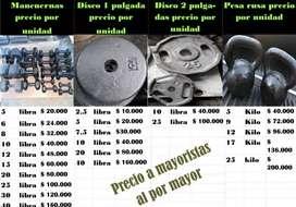 Mancuerna y discos de hierro