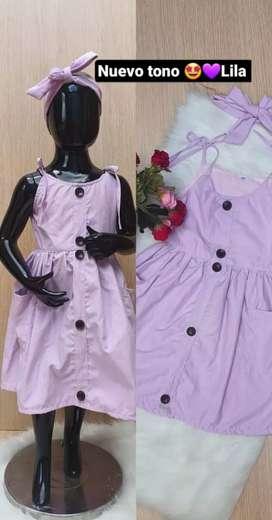 Vestido en popelina, incluye turbante - Talla 4 - 6 - 8