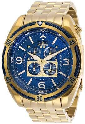 Reloj Hombre Invicta Aviator Dorado Azul Multifuncion 28089