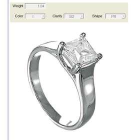 Diamante de un quilate corte princesa dimensiones 5.56