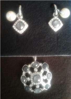 coleccion collar aretes y pulsera perli plata yanbal