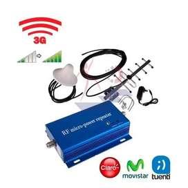 KIT AMPLIFICADOR DE SEÑAL CELULAR BANDA 850MHz 3G 60dB + ANTENA EXTERIOR 8dBi CABLE 10m + ANTENA INTERIOR OMNI 5dBi