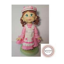 Adorno de Torta Porcelana fria. Nena Vestido Rosa. 21,5 cm de alto!!