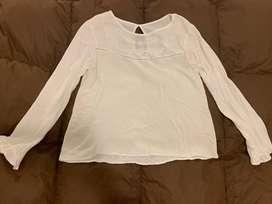 Camisa blanca de gasa talle M