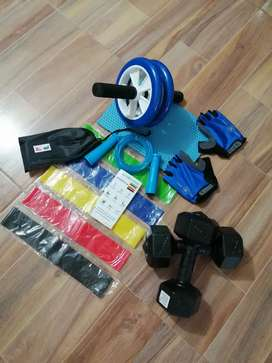 Kit de bandas elásticas + mancuernas + rueda abdominal + tapete + lazo siliconado + guantes