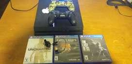 Vendo ps4 500gb 2 joystick y 5 juegos + auricular PlayStation y hdmi