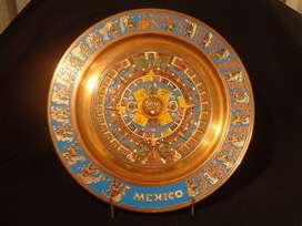 Calendario Azteca Piedra Del Sol cobre tallado y esmaltado Tallad