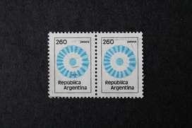 BLOCK 2 ESTAMPILLAS ARGENTINA, 1979, ESCARAPELA, VALOR  260, MINT