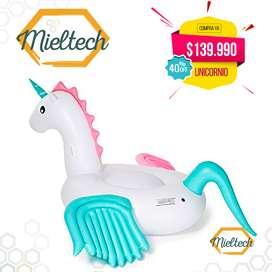 inflable gigante unicornio 2.4 metros flotador para playa piscinas