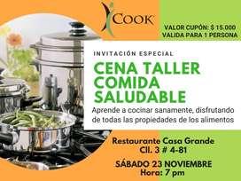 Cena y Aprende a Cocinar saludablemente cel. 3218114905