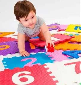 Piso rompecabezas de goma infantil bebe encastrable  - 10 piezas de 30x30cm