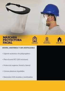 MASCARA PROTECTORA FACIAL 100% REUTILIZABLE ACETATO 300 MICRONES. CORREAS PLASTICAS AJUSTABLES