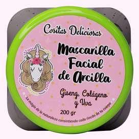 Mascarilla facial de arcilla, marca cositas deliciosas