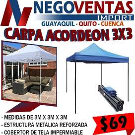 CARPA ACORDEON 3X3 EXCLUSIVAMENTE EN DESCUENTO SOLO EN NEGOVENTAS