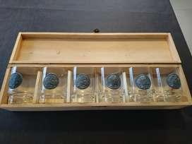 Vasos crital con medalla antiguos