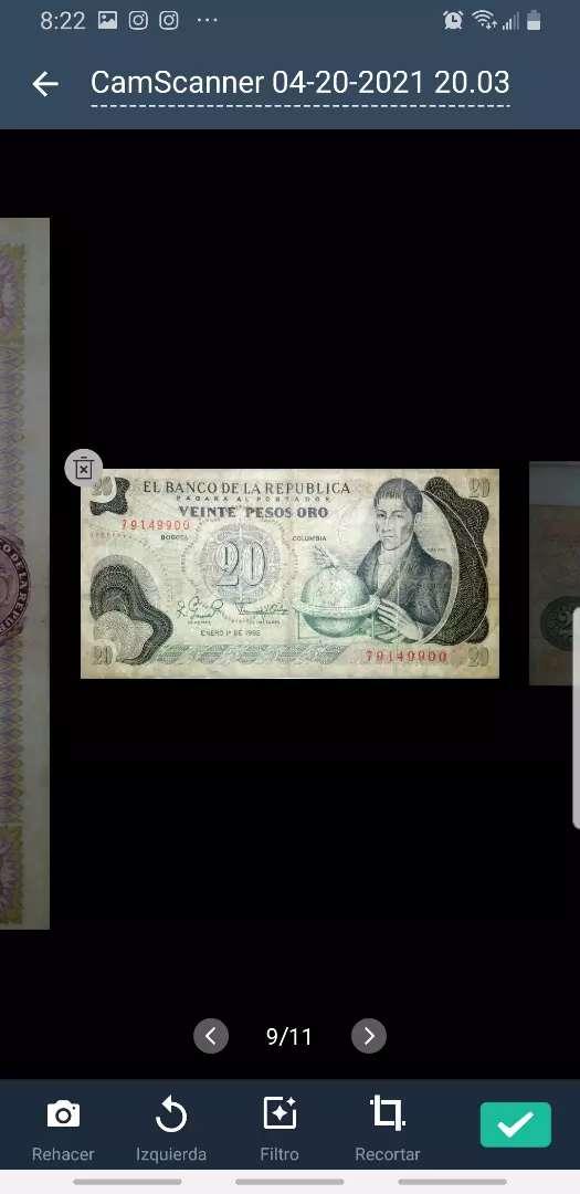 Billete  20 pesos  oro