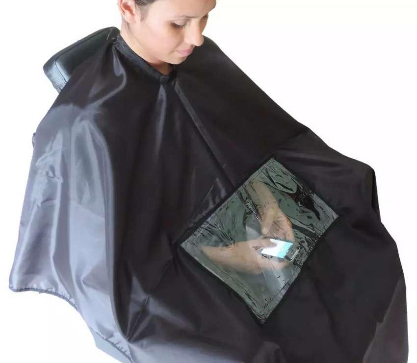 Capa para peluquería con visor para celular 0