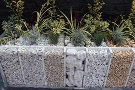 Piedra decorativa jardin chimenea blanca y colores